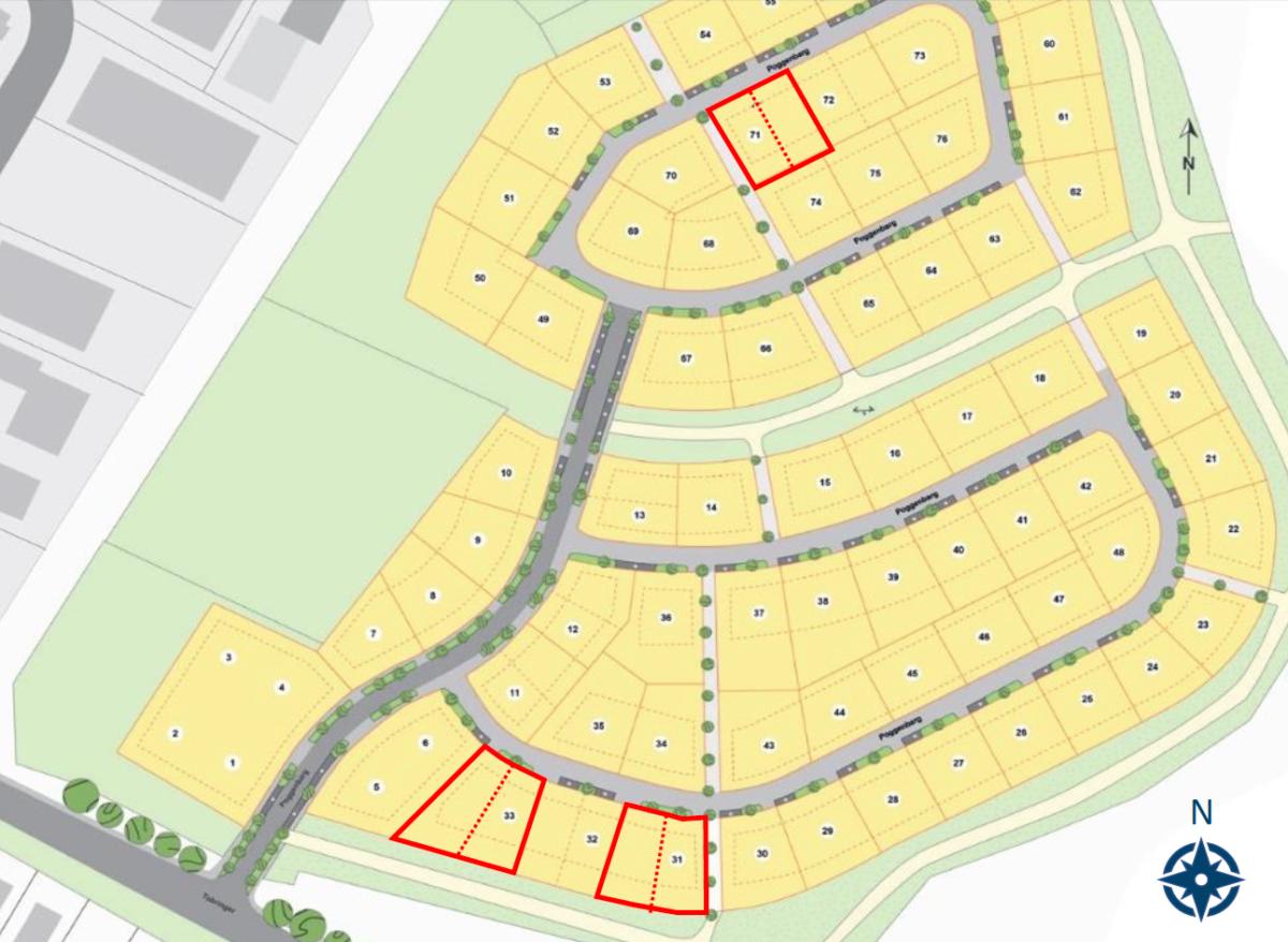 Lageplan Doppelhäuser Heikendorf
